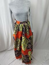 "Womens African Ankara Kitenge High Waist 24"" Maxi Long Skirt With Pocket SIZE 2"