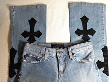 """JUICY COUTURE JEANS Distressed Blue Denim Size 27 Waist 27"""" Length 32"""" USA"""