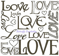 LOVE Script Background Wood Mounted Rubber Stamp NORTHWOODS PP9381 Valentine New