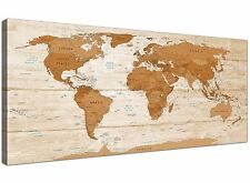 Large Brown Cream Map of World Atlas Canvas Wall Art - Modern 120cm Wide - 1307