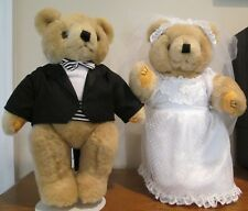 Vintage 80's Plush Bride & Groom Posable Bears with stands by Lillian Vernon
