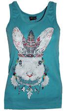 Ladies T-Shirt Tank Top Vest with Rabbit Graphic