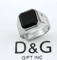 DG Men's Silver Stainless Steel Black Onyx Silver Ring Size 8 9,10,11,12,13+ Box