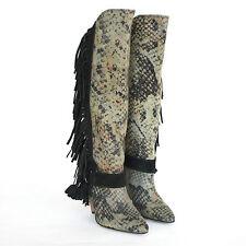 ISABEL MARANT $1095 python snakeskin print canvas fringe sailor boots 36 / 6 NEW