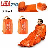 2 Pack Emergency Sleeping Bag Thermal Waterproof Outdoor Survival Camping Hiking