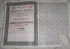 Russland Russia Imperial Bond 1908 Tramways Odessa 100 francs coupons
