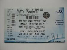 MICHAEL MCINTYRE  LONDON  30/09/2012  TICKET