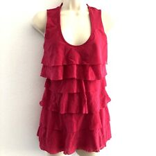 White House Black Market Women's Small Top Tunic Pink Tiered Sleeveless