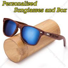 Personalised Engraving Walnut Wood Mirrored Sunglasses Groomsmen Birthday Gift r