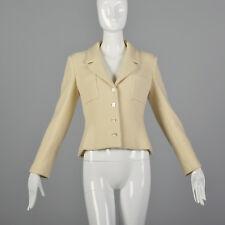 Medium Chanel 1990s Cream Wool Jacket Vintage Chanel Blazer 90s Chanel Designer