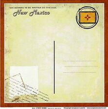 Sc - New Mexico Postcard Scrapbooking Paper - 1 sheet - Vintage 36199