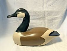 Vintage Wooden Hand Carved And Painted Decorative Goose With Glass Eyes