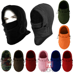 Men Thermal Fleece Balaclava Hat Ski Neck Face Mask Covers Hooded Cap Windproof
