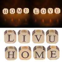 Resin Simulation Wood Block CAPITAL LETTER Candle Holder Wedding Bar Home Décor