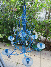 Shabby Chic Blue Chandelier Metal Candle Stick Non-electric