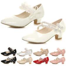 8ee476771 Girls kids childrens bridesmaid princess wedding heeled Mary Jane shoes size