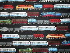 TRAINS RAILROAD MODEL TRAIN BORDER BLACK COTTON FABRIC FQ