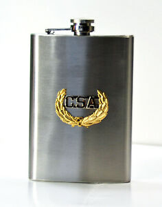 C.S.A. Confederate Hip Flask -   Stainless Steel 8 oz. - Screw down cap.   CSA