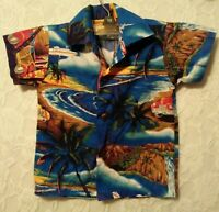 Aloha Mo'i Hawaiian Shirt Toddler Kids Sz 1 Button Down Palm Trees Cars Blue