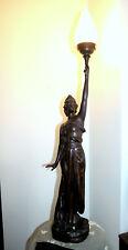 Große Skulptur / signiert / Haase 1900 / Figurenlampe / Stehlampe / Zinnguss