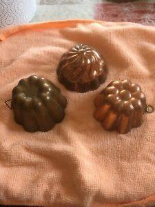 Butter/Pastetenform -3er Set- Kupfer/Zinn-Deko/Vintage