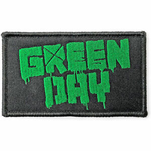 """GREEN DAY - """"GREEN LOGO"""" - WOVEN SEW ON PATCH - OFFICIAL ITEM"""