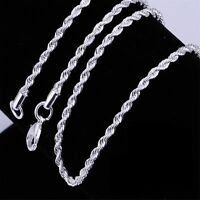 """Mens Womens 925 Sterling Silver 1MM-10MM Rope Chain Necklace 16"""" - 36"""""""