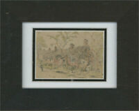 Mid 19th Century Graphite Drawing - Figure by Cottages