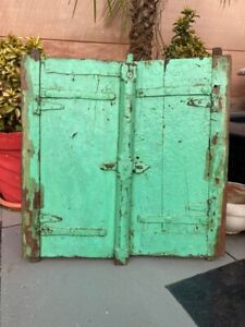 Antique Old Wooden Green Painted Indian Old House Window Door Without Frame