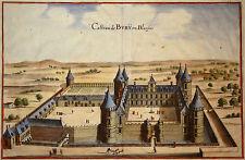 Gravure Kupferstich Print Caspar MERIAN Topographia Galliae Château de Bury 1655