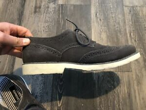 Express Suede Wingtip Gray Shoes Size 10 Men's
