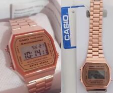 Genuine CASIO Retro Clásico Unisex Digital Reloj De Acero-Oro Rosa A168WA-1YES