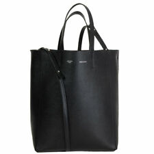 61994 auth CELINE black Grained Calfskin leather CABAS SMALL TOTE Bag