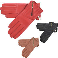 Ladies Super Soft Genuine Leather Gloves with Zip Detail Fleece Lining Black Red