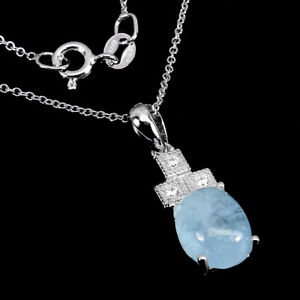 Unheated Oval Aquamarine 10x8mm Cz White Gold Plate 925 Sterling Silver Necklace