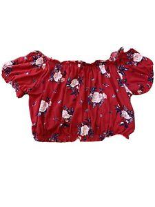H&M Women's Size Medium Floral Cropped Top Blouse