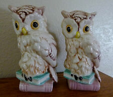 """2 Vintage Ceramic Owl on books Figurines Statues Bookends Collectible 6.5"""" tall"""