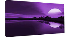 "LARGE PURPLE SEA SUNSET CANVAS PICTURE WALL ART A1 34"" X 20"""