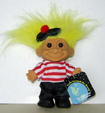 """RUSS  4"""" TROLL DOLL: MY LUCKY TROLL FROM FRANCE, WITH PAPER TAG, GREAT CONDITION"""
