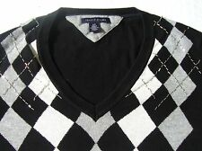 Tommy Hilfiger Argyle Sweater Womens Size Small Black Lightweight S