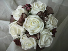 burgandy and ivory rose handtied wedding  / bridesmaid / flowergirl bouquet