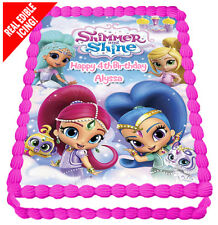 Shimmer and Shine Edible Icing Image Birthday Party Cake Decoration Topper