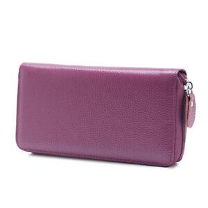 Women's RFID Full Grain Leather Large Capacity Phone Holder Zipper Clutch Wallet