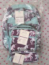 New Pottery Barn Kids Large Plum Turquoise Unicorn Horse Backpack Set Rare Find