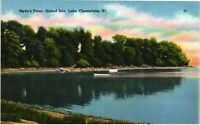 Vintage Postcard - Linen Hyde's Point Lake Champlain Vermont VT Unposted #4813