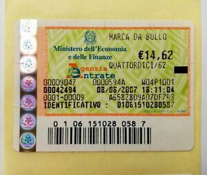 MARCA DA BOLLO da € 14,62. ANNO 2007 Agosto VALIDA e ORIGINALE TELEMATICA PayPal