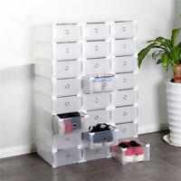10 Pairs Foldable Shoe Box Storage Magnetic Transparent Case Stackable Organizer