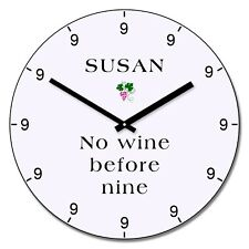 Personalised No wine before nine Design Wall Clock - Add Name Gift 30cm