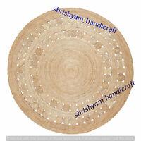 Jute Thick Weave Rug Area Rug Floor Carpet Handmade Round Jute Natural Rug Round
