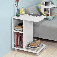 SoBuy® Bout de Canapé Table d'Appoint roulante 2 étagère de rangement FBT48-W,FR